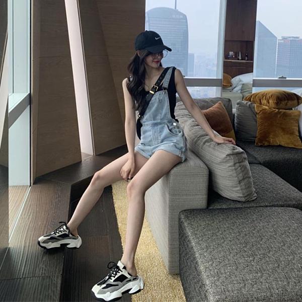 連體褲 泫雅風牛仔背帶短褲女2021夏季新款韓版寬鬆可愛日系小個子連體褲 晶彩