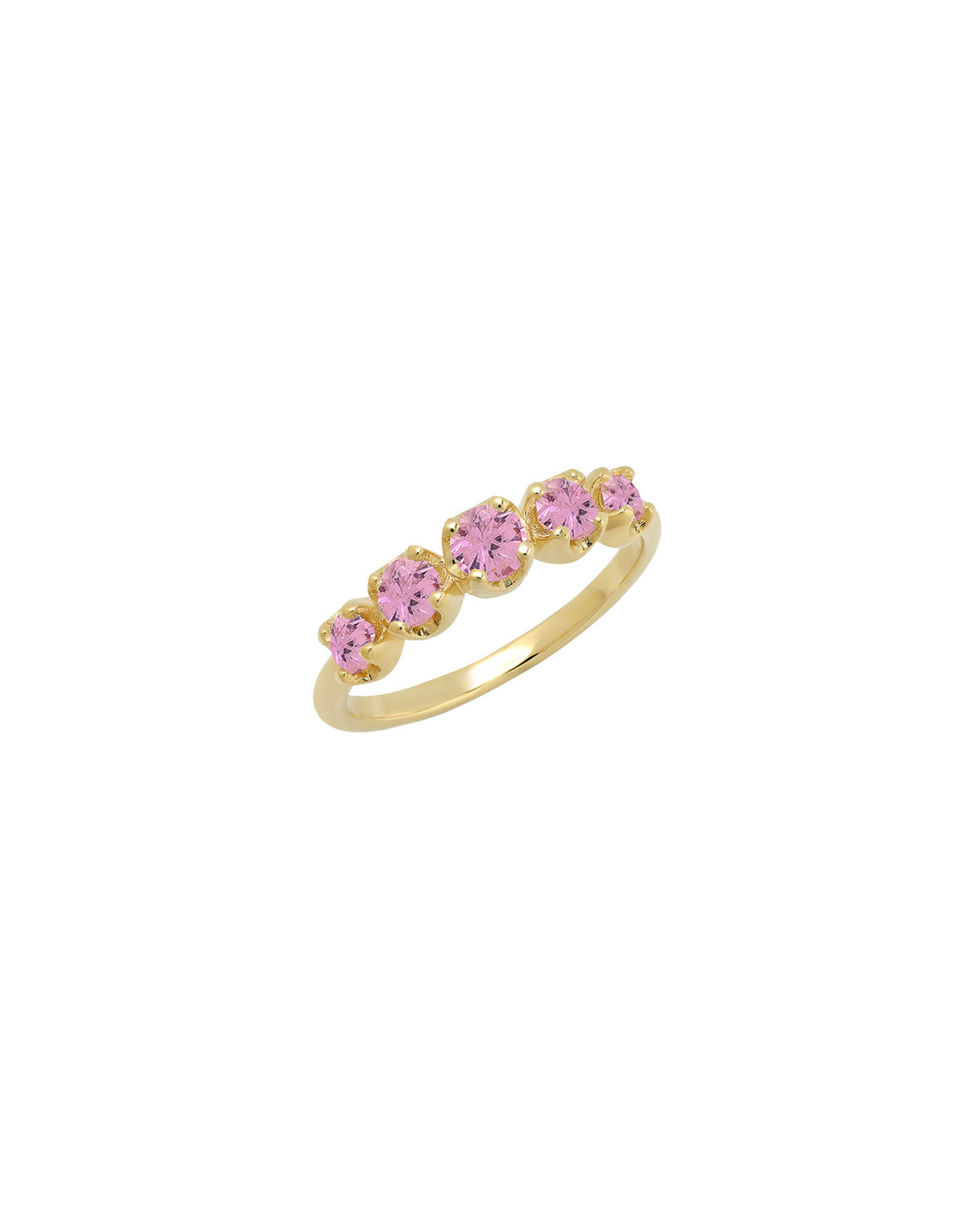 Graduated Stone Ring in Pink Sapphires, Size 6.5