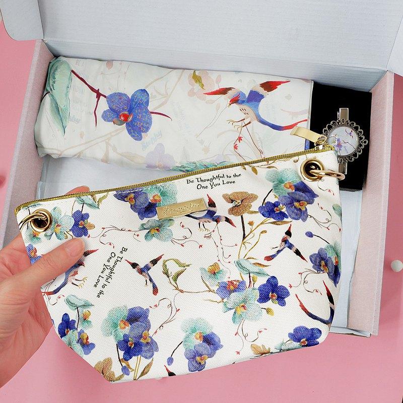 【母親節禮盒套裝】6件套禮盒 絲巾+絲巾扣+金鏈條包包+3張心意卡