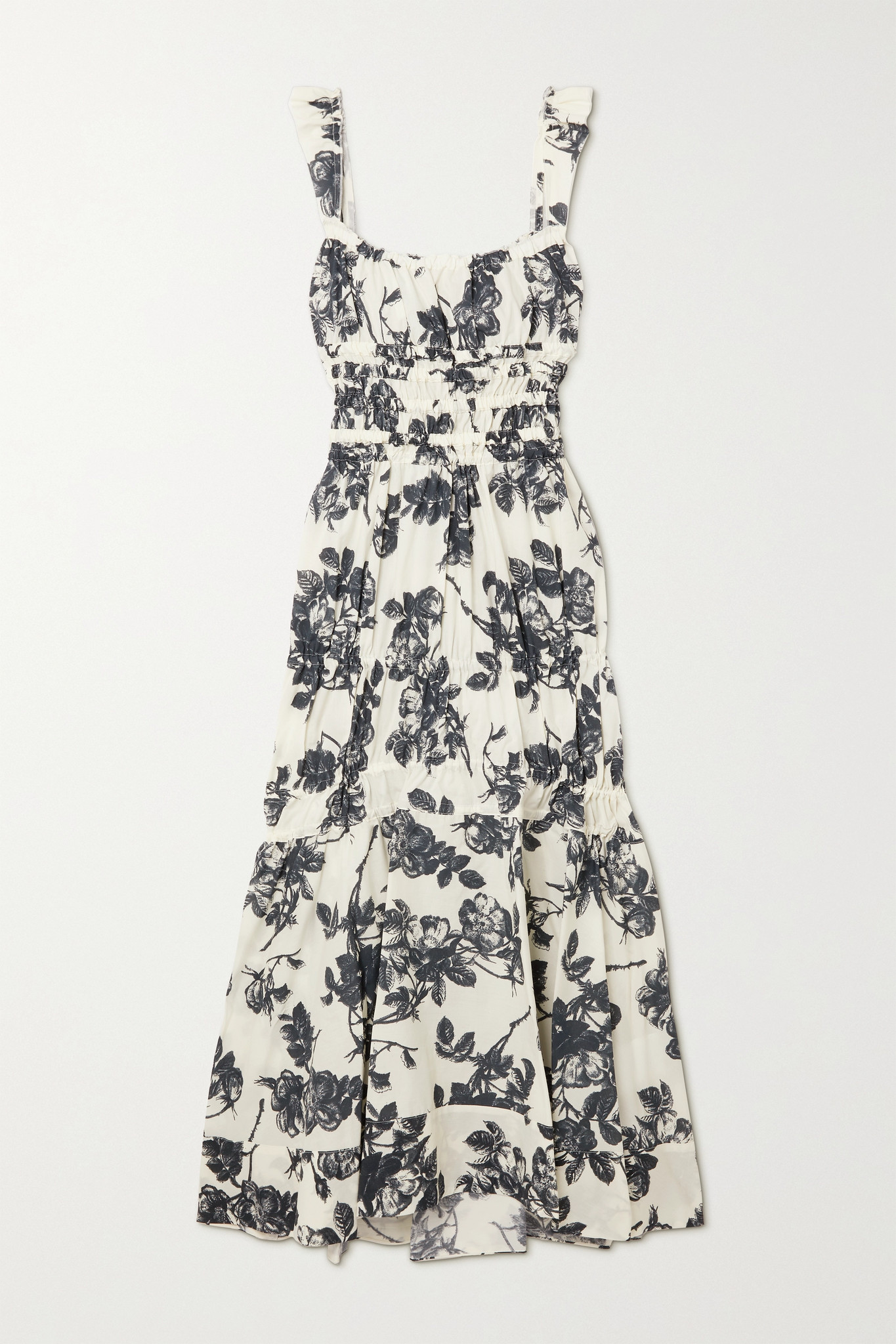 BROCK COLLECTION - Prisca Shirred Floral-print Cotton-poplin Midi Dress - Ivory - US4
