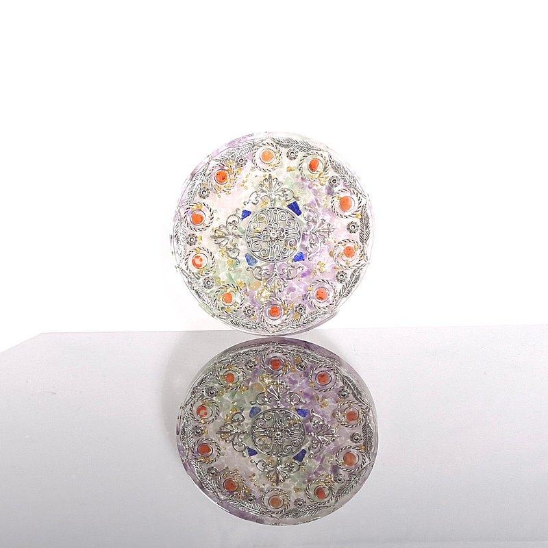 巴洛克花園-奧剛大圓盤/杯墊Orgonite水晶礦石粉晶紫水晶紅瑪瑙療