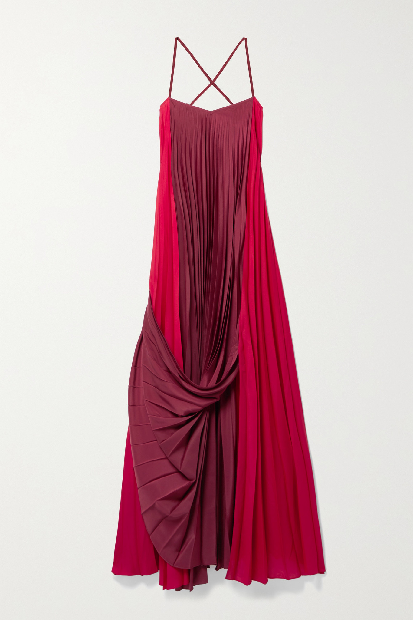 ZEUS + DIONE - Alysi Draped Pleated Two-tone Crepe De Chine Maxi Dress - Red - FR36