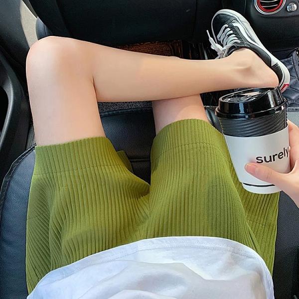 五分褲 運動短褲女2021新款夏季寬鬆高腰大碼胖mm休閒潮ins闊腿五分中褲 晶彩 99免運