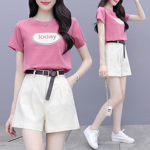 套裝 短袖兩件套S-2XL小個子搭配顯高套裝女夏季休閑時尚洋氣減齡短褲兩件套H430B紅粉佳人