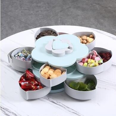 果盤 歐式創意多功能雙層旋轉糖果盒干果糖盒分格帶蓋花瓣果盤過年零食