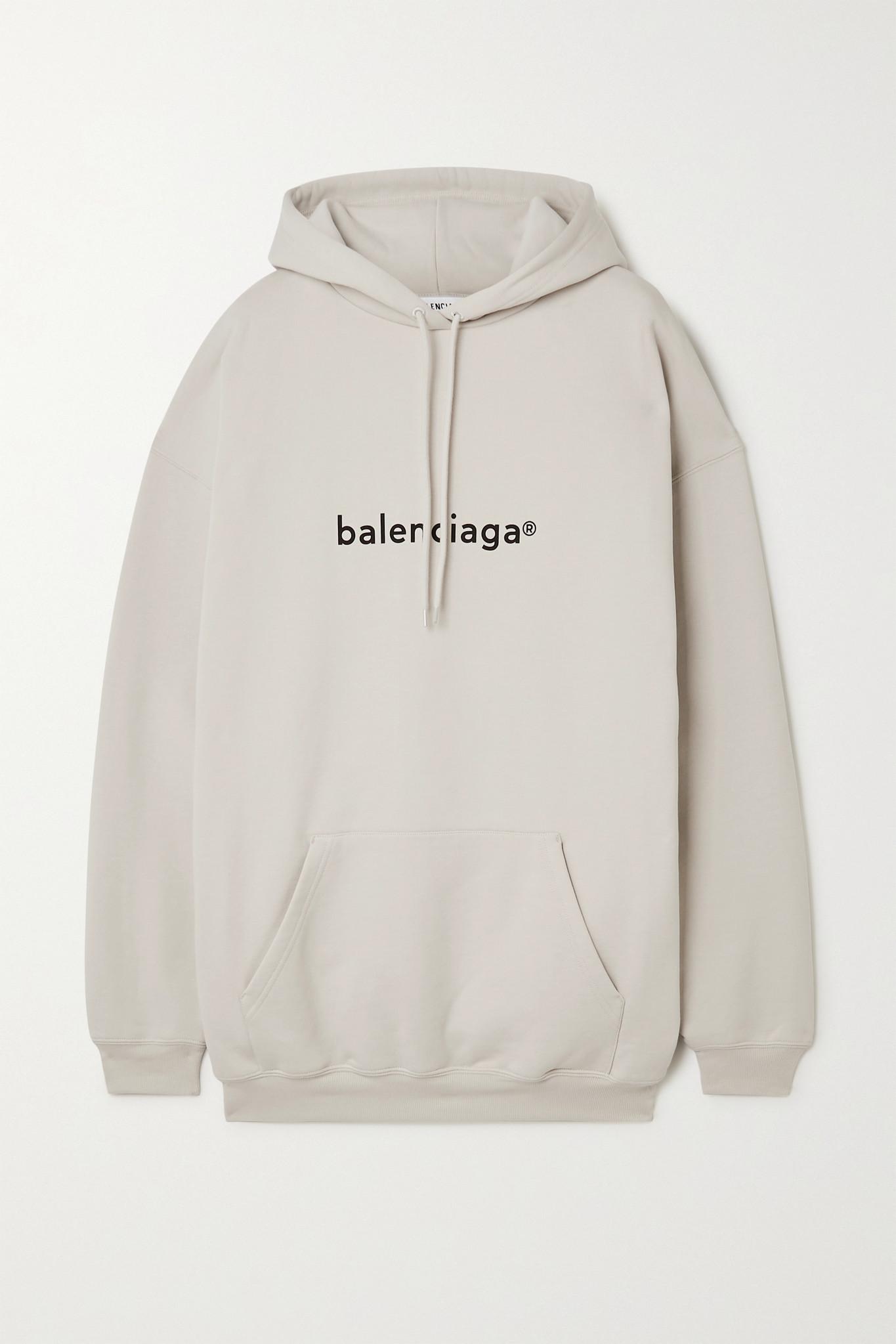 BALENCIAGA - 大廓形印花纯棉平纹布帽衫 - 白色 - small