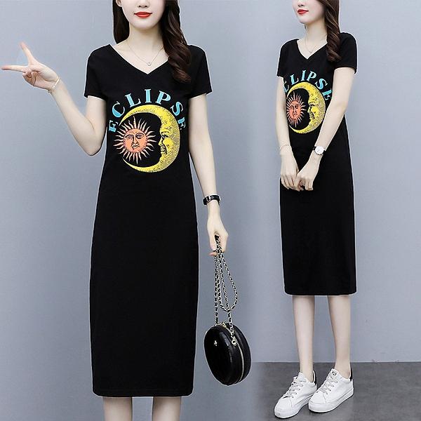 印花連身裙V領洋裝M-4XL夏新款通勤胖MM顯瘦中長款減齡套頭t恤非A011-A.9212 1號公館
