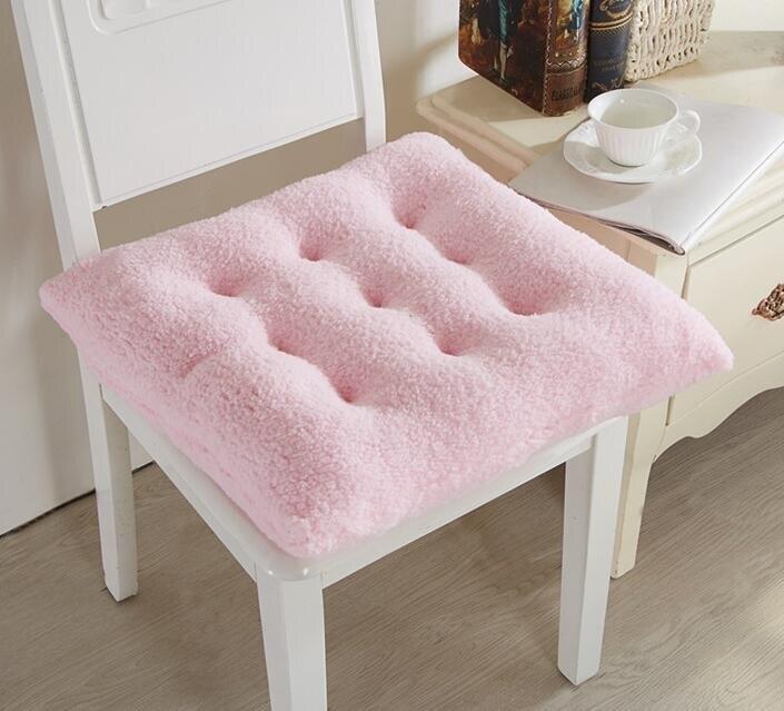 坐墊 可愛糖果色花朵坐墊超粉嫩羊羔絨軟綿綿超舒適辦公室坐墊毛絨椅墊
