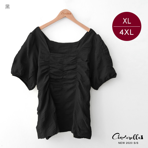 【SUC2016】0814方領胸前抓皺短袖上衣(預購)XL-4XL
