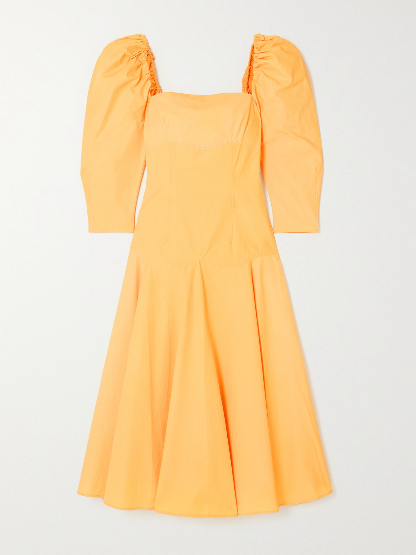 REJINA PYO - + Net Sustain Celeste Organic Cotton-poplin Midi Dress - Yellow - UK8