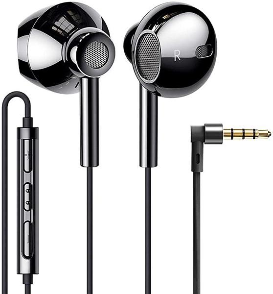【日本代購】QUAD隔膜雙驅動結構重視重低音高解析度高音質入耳式耳機帶麥克風高清通話 黑色