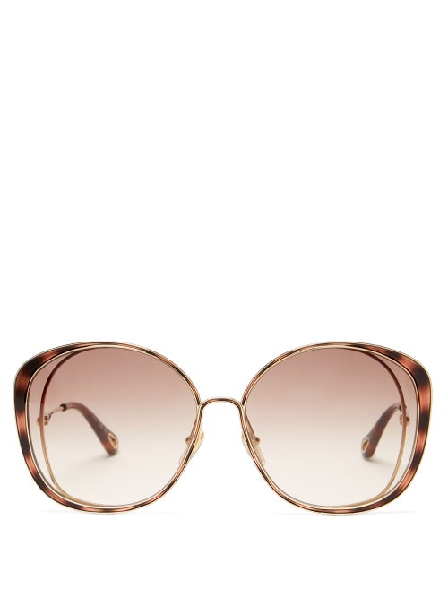 Chloé - Hanah Oversized Cat-eye Metal Sunglasses - Womens - Gold