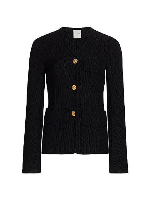 Moss-Stitch Knit Jacket