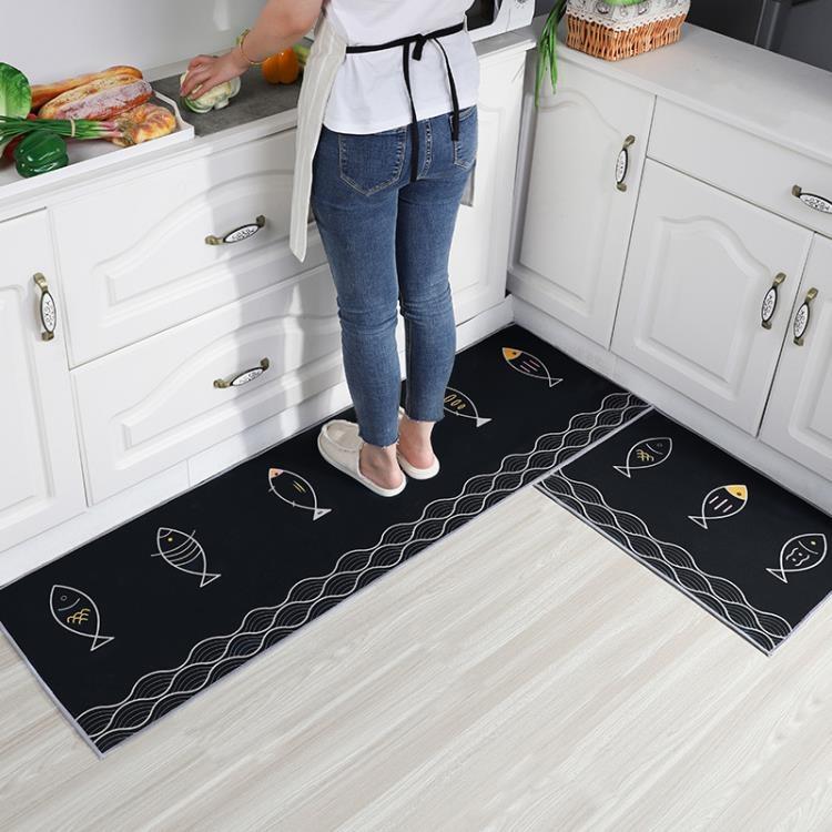 廚房地墊 卡通廚房地墊耐髒可擦免洗吸水吸油防滑長條衛生間門口進門腳墊子