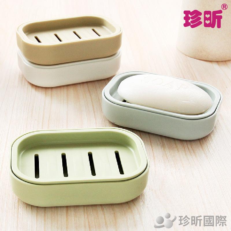 【珍昕】清新日系加厚瀝水香皂盒~4色隨機(約10.5x7.5x2cm)/瀝水盒/香皂盒/瀝水香皂盒