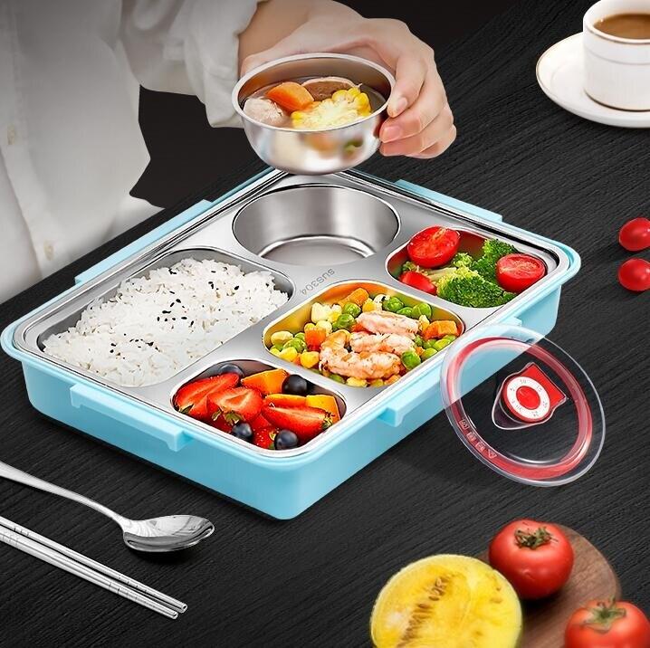 便當盒 304不銹鋼保溫飯盒學生上班族便攜分隔型餐具餐盤便當盒套裝餐盒