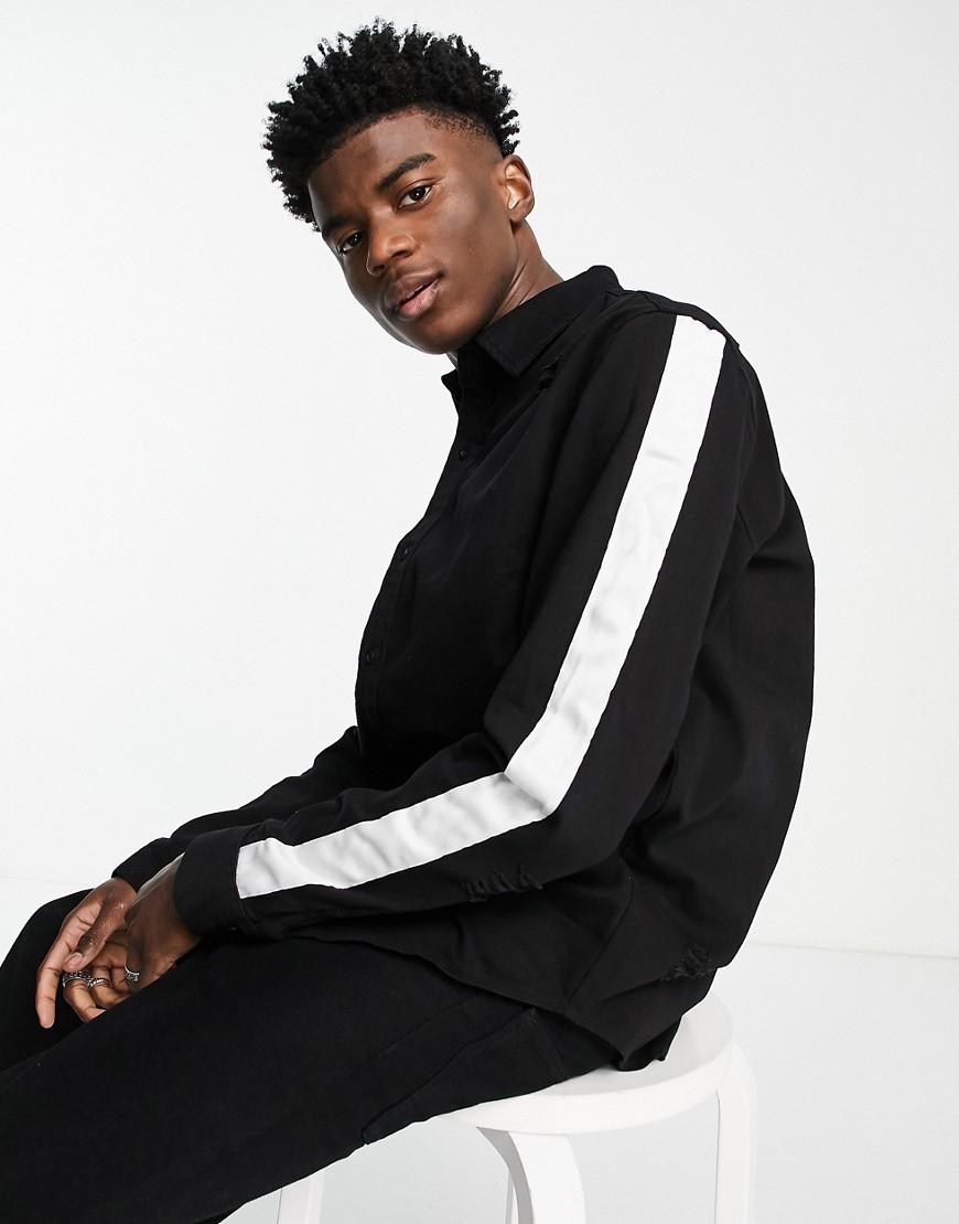 Sixth June stripe detail denim shirt in black and white