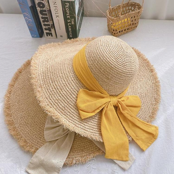 遮陽帽拉菲草帽子夏天海邊遮陽帽大簷沙灘帽女防曬旅遊百搭蝴蝶結太陽帽 【快速出貨】
