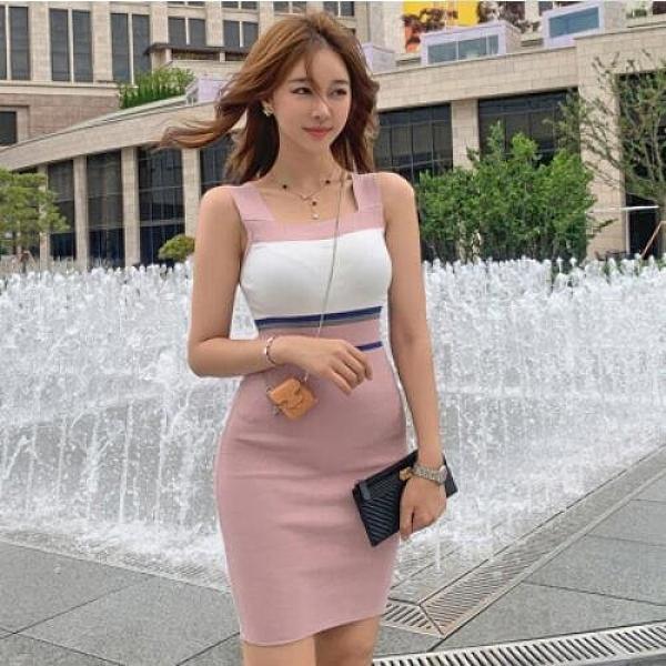 洋裝針織裙性感新款氣質修身拼色針織吊帶裙時尚打底連身裙NE49-7929.胖胖唯依