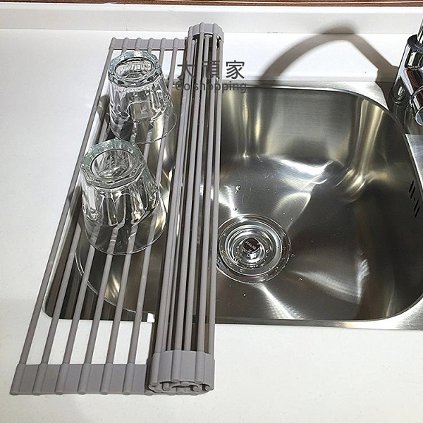 水槽置物架 海綿瀝水架 廚房洗手盆濾水架水槽置物架可卷折疊水池卷簾瀝水架