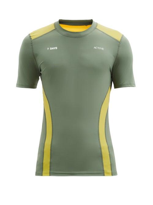 7 Days Active - Panelled Short-sleeve Technical T-shirt - Mens - Green