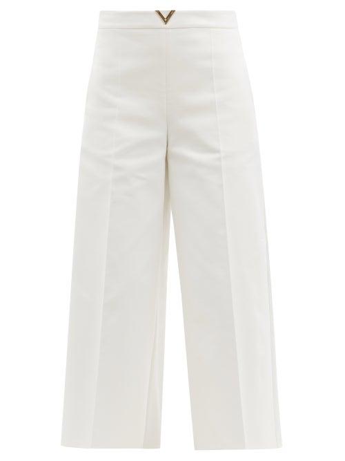 Valentino - V-gold Cotton-blend Wide-leg Trousers - Womens - White
