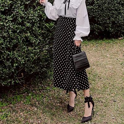 iMODA STAR-甜美浪漫點點飄逸A字傘襬長裙