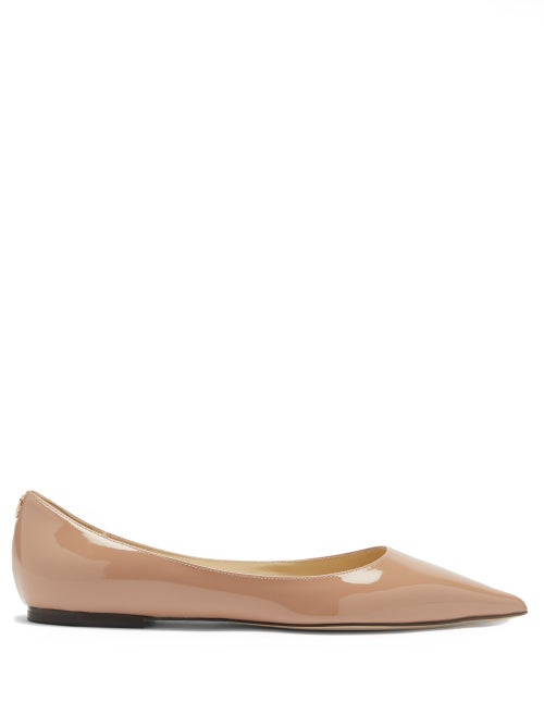 Jimmy Choo - Love Patent-leather Flats - Womens - Nude