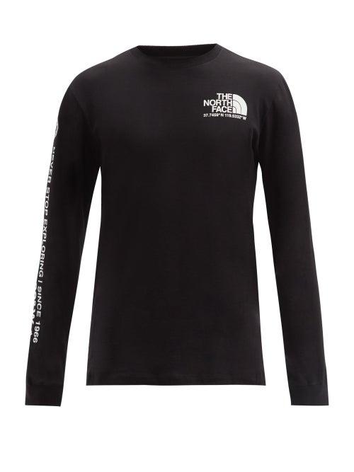 The North Face - Coordinates-print Cotton Long-sleeved T-shirt - Mens - Black