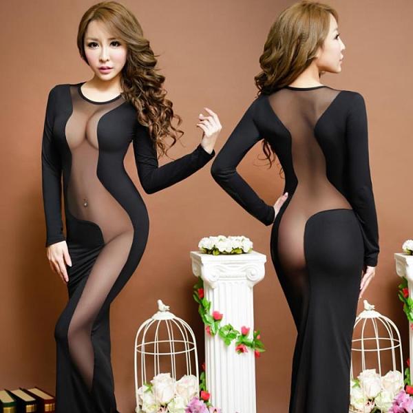 透視禮服 洋裝 性感透視蕾絲連身裙夜場OL職業制服KTV會所夜店緊身包臀旗袍