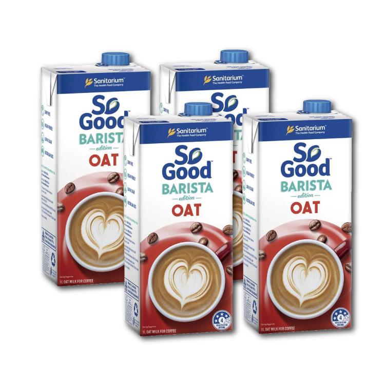 澳洲SO GOOD 咖啡師燕麥奶*4(微糖/1000ml)★澳洲市佔第一植物奶,紐澳咖啡廳選用率最高