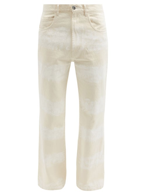 Marni - Brushstroke-striped Cotton Flared-leg Jeans - Mens - Beige White