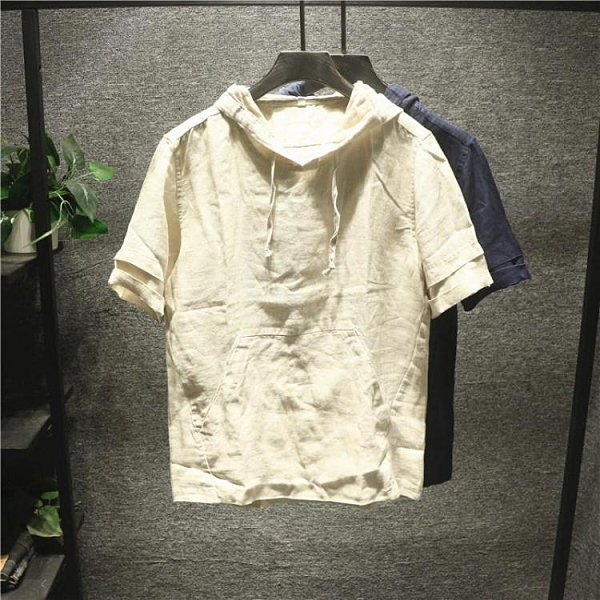 2021新款極簡棉麻連帽T恤男士夏季潮流百搭ins輕薄帥氣短袖上衣 快速出貨