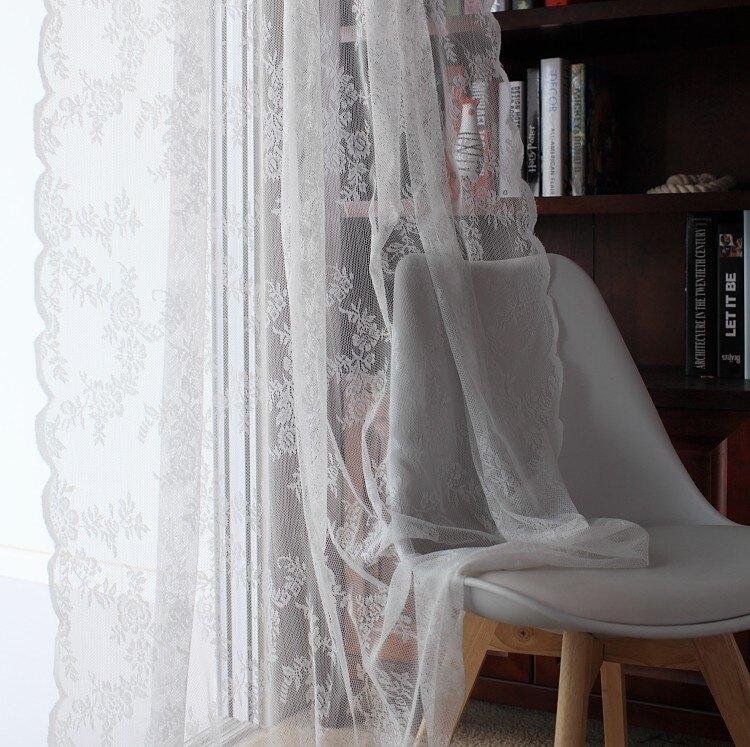 窗紗 定制韓式田園蕾絲 成品白紗窗簾紗簾白沙客廳陽台飄窗美式鄉村穿桿簾