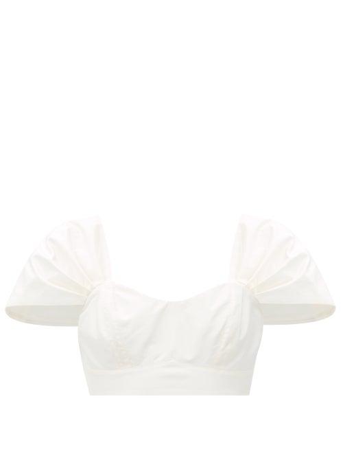 Simone Rocha - Pleated-sleeve Silk-taffeta Cropped Top - Womens - Ivory
