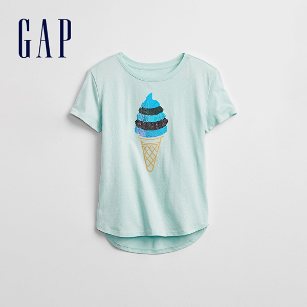 Gap女童 可愛雙面亮片純棉短袖T恤 759059-淺藍色
