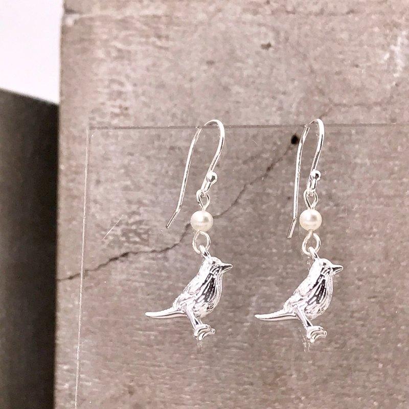 純銀 立體小鳥 S925 珍珠 防敏感 耳環