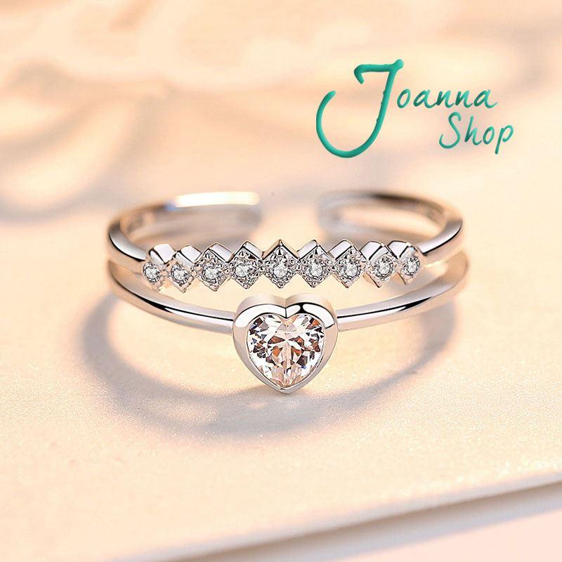 S925銀 韓版心型雙層鋯石專櫃 活圍戒指(含禮盒) -Joanna Shop