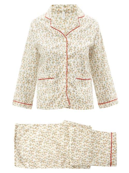 Domi - Floral-print Organic-cotton Pyjamas - Womens - Yellow Print