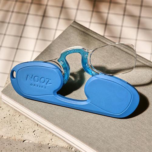 法國Nooz 時尚造型夾鼻式老花眼鏡(矩形)-海洋藍