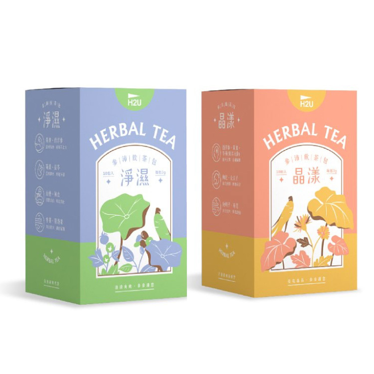 H2U|淨濕+晶漾_參沛飲漢方草本茶10包2盒組