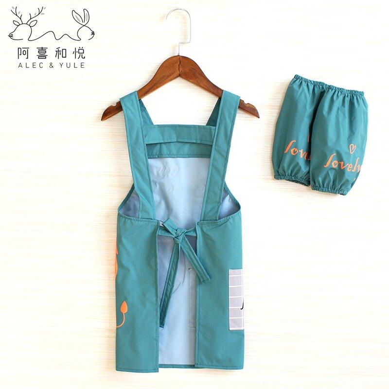 兒童罩衣 兒童圍裙美術生專用繪畫畫衣服罩衣寶寶玩水防水衣兒童園吃飯圍兜『XY17205』
