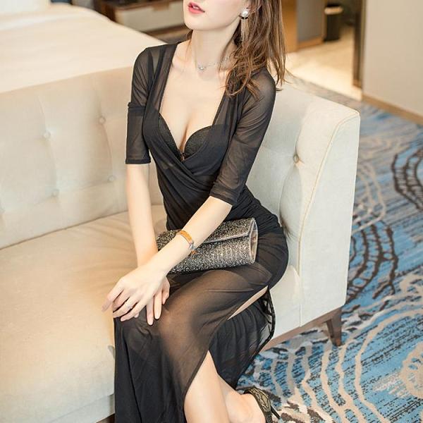 透視禮服 洋裝 性感透視長裙網紗夜場女裝KTV佳麗夜總會晚禮服桑拿技師服連身裙