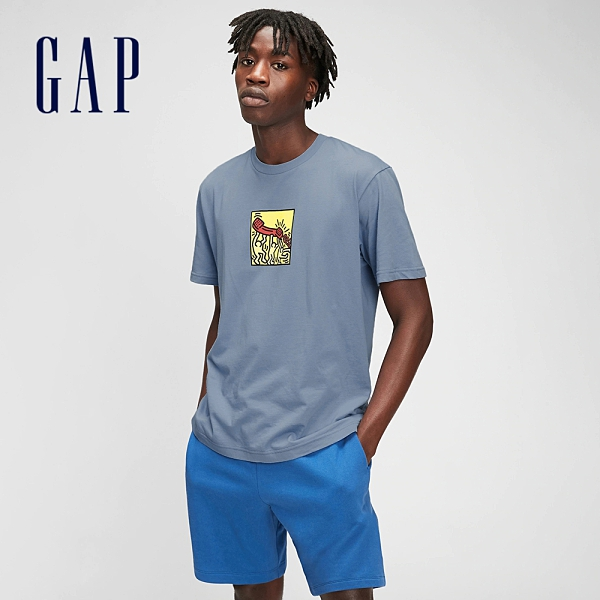 Gap男女同款 Gap x Keith Haring聯名系列 时尚印花圓領短袖T恤 786629-灰藍色