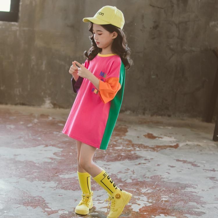 女童短袖上衣 女童短袖t恤裙純棉洋氣寬鬆夏裝女兒童中長款半袖上衣潮T 凡卡時尚