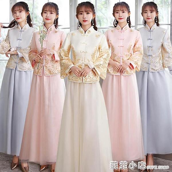 中國風中式伴娘服春夏款2021新款姐妹伴娘團禮服婚禮大碼顯瘦胖mm 范思蓮恩