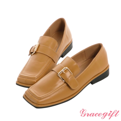 Grace gift-金屬方釦低跟樂福鞋 駝