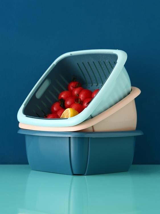 菜籃 家用雙層洗菜籃瀝水籃廚房塑料洗水果盤帶蓋防塵蔬菜收納盒保鮮盒