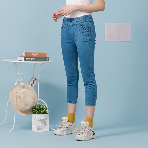 【中大尺碼】MIT蝴蝶結口袋牛仔中褲