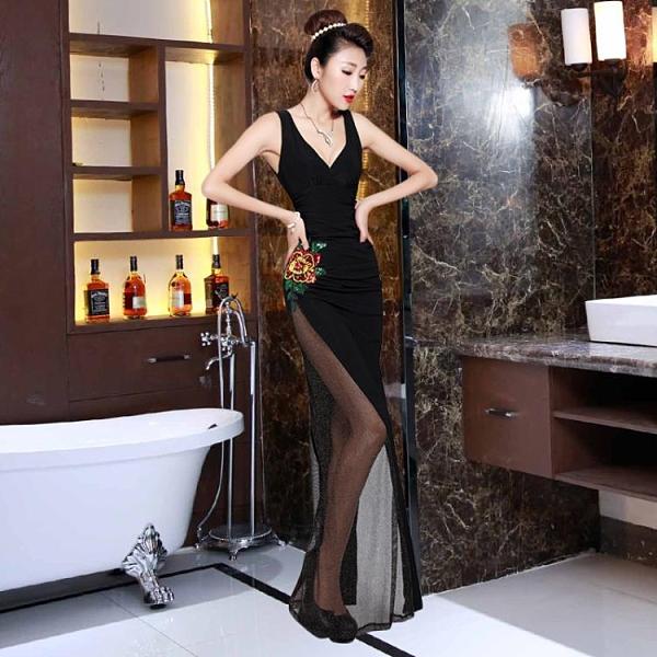 透視禮服 洋裝 夜場性感V領晚禮服長款修身透視網紗長裙工作服透明繡花連身裙女